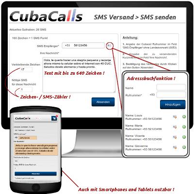 Kuba SMS Versandformular